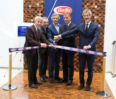 """Barilla leaders celebrate the grand opening of their new Region Americas Headquarters at 885 Sunset Ridge Rd., in Northbrook, Ill., designed to foster collaboration with an """"outside-in"""" approach-key to Barilla's growth strategy. (From left: Vice Chairman Luca Barilla, Region Americas President Jean-Pierre Comte, Vice Chairman Paolo Barilla, CEO Claudio Colzani, Chairman Guido Barilla). (PRNewsFoto/Barilla)"""